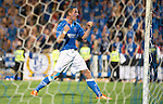 St Johnstone v FC Luzern...24.07.14  Europa League 2nd Round Qualifier<br /> Steven MacLean celebrates his penalty<br /> Picture by Graeme Hart.<br /> Copyright Perthshire Picture Agency<br /> Tel: 01738 623350  Mobile: 07990 594431