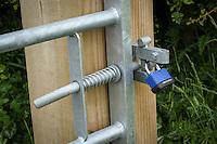 New farm field gate, post, and pad lock