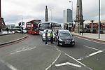 Road traffic accident, road rage, argument car drivers traffic congestion London UK. South side of Lambeth Bridge, Lambeth road roundabout.
