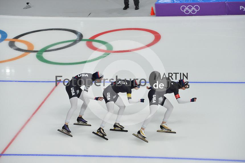 OLYMPIC GAMES: PYEONGCHANG: 19-02-2018, Gangneung Oval, Long Track, Team Pursuit Ladies, Team USA, ©photo Martin de Jong