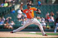 Norfolk Tides relief pitcher Pedro Beato (36) during a game against the Rochester Red Wings on July 17, 2016 at Frontier Field in Rochester, New York.  Rochester defeated Norfolk 3-2.  (Mike Janes/Four Seam Images)