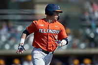 JacobCampbell (9) of the Illinois Fighting Illini hustles down the first base line against the West Virginia Mountaineers at TicketReturn.com Field at Pelicans Ballpark on February 23, 2020 in Myrtle Beach, South Carolina. The Fighting Illini defeated the Mountaineers 2-1.  (Brian Westerholt/Four Seam Images)