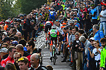 The main bunch summit the brutal Colma di Sormano during the 113th edition of Il Lombardia 2019 running 243km from Bergamo to Como, Italy. 12th Octobre 2019. <br /> Picture: Fabio Ferrari/LaPresse | Cyclefile<br /> <br /> All photos usage must carry mandatory copyright credit (© Cyclefile | LaPresse/Fabio Ferrari)