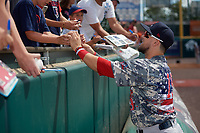 Boston Red Sox Michael Chavis (19), on rehab assignment with the Pawtucket Red Sox, signs autographs before an International League game against the Buffalo Bisons on August 25, 2019 at Sahlen Field in Buffalo, New York.  Buffalo defeated Pawtucket 5-4 in 11 innings.  (Mike Janes/Four Seam Images)