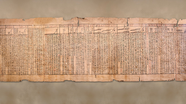 """Ancient Egyptian Book of the Dead papyrus - Spell 33 for keeping snakes away, Iufankh's Book of the Dead, Ptolomaic period (332-30BC).Turin Egyptian Museum<br /> <br /> the spell reads ' O Rerek! Move not! Behold Geb and Shu have risen against you, for you have eaten a mouse, the abomination of Re"""" you have crunched the bones of a putrified cat""""<br /> <br /> The translation of  Iuefankh's Book of the Dead papyrus by Richard Lepsius marked a truning point in the studies of ancient Egyptian funereal studies."""