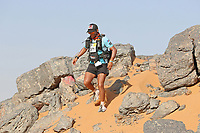 4th October 2021; Tisserdimine to Kourci Dial Zaid;  Marathon des Sables, stage 2 of  a six-day, 251 km ultramarathon, which is approximately the distance of six regular marathons. The longest single stage is 91 km long. This multiday race is held every year in southern Morocco, in the Sahara Desert. Yonnatan Rivas Venegas (COL) descends the rocky section