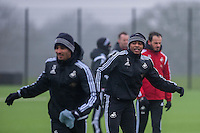 Thursday  21 January 2016<br /> Pictured: Andre Ayew of Swansea in action during training <br /> Re: Swansea City Training Session at the Fairwood training ground