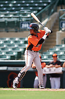 Baltimore Orioles Ricardo Andujar (10) during an instructional league game against the Tampa Bay Rays on September 25, 2015 at Ed Smith Stadium in Sarasota, Florida.  (Mike Janes/Four Seam Images)
