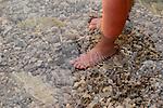 Fuss im kristallklaren Wasser, foot in crystal clear water, Glavodok, Krk Island, Dalmatia, Croatia. Insel Krk, Dalmatien, Kroatien. Krk is a Croatian island in the northern Adriatic Sea, located near Rijeka in the Bay of Kvarner and part of the Primorje-Gorski Kotar county. Krk ist mit 405,22 qkm nach Cres die zweitgroesste Insel in der Adria. Sie gehoert zu Kroatien und liegt in der Kvarner-Bucht suedoestlich von Rijeka.