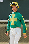 Jockey Clinton L. Potts before the running of the Honeybee Stakes (Grade III) at Oaklawn Park in Hot Springs, Arkansas-USA on March 8, 2014. (Credit Image: © Justin Manning/Eclipse/ZUMAPRESS.com)