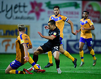 Lincoln City's Ramirez Howarth battles with Mansfield Town's Aaron O'Driscoll<br /> <br /> Photographer Andrew Vaughan/CameraSport<br /> <br /> EFL Trophy Northern Section Group E - Mansfield Town v Lincoln City - Tuesday 6th October 2020 - Field Mill - Mansfield  <br />  <br /> World Copyright © 2020 CameraSport. All rights reserved. 43 Linden Ave. Countesthorpe. Leicester. England. LE8 5PG - Tel: +44 (0) 116 277 4147 - admin@camerasport.com - www.camerasport.com