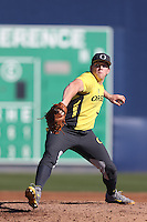 Jordan Spencer #23 of the Oregon Ducks pitches against the Loyola Marymount Lions at Page Stadium on February 23, 2014 in Los Angeles, California. Oregon defeated Loyola, 4-3. (Larry Goren/Four Seam Images)