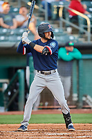 Jack Reinheimer (7) of the Tacoma Rainiers at bat against the Salt Lake Bees at Smith's Ballpark on May 13, 2021 in Salt Lake City, Utah. The Rainiers defeated the Bees 15-5. (Stephen Smith/Four Seam Images)