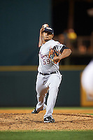 Lakeland Flying Tigers relief pitcher Edgar De La Rosa (59) delivers a pitch during a game against the Bradenton Marauders on April 16, 2016 at McKechnie Field in Bradenton, Florida.  Lakeland defeated Bradenton 7-4.  (Mike Janes/Four Seam Images)