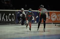 SPEEDSKATING: DORDRECHT: 05-03-2021, ISU World Short Track Speedskating Championships, Heats 500m Men, Charles Hamelin (CAN), Shaoang Liu (HUN), ©photo Martin de Jong