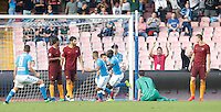 Calcio, Serie A: Napoli vs Roma. Napoli, stadio San Paolo, 15 ottobre. <br /> Napoli's Kalidou Koulibaly, third from right, celebrates after scoring during the Italian Serie A football match between Napoli and Roma at Naples' San Paolo stadium, 15 October 2016. Roma won 3-1.<br /> UPDATE IMAGES PRESS/Isabella Bonotto