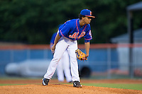 Kingsport Mets starting pitcher Harol Gonzalez (45) looks to his catcher for the sign against the Elizabethton Twins at Hunter Wright Stadium on July 8, 2015 in Kingsport, Tennessee.  The Mets defeated the Twins 8-2. (Brian Westerholt/Four Seam Images)
