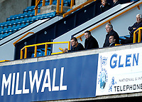 31st October 2020; The Den, Bermondsey, London, England; English Championship Football, Millwall Football Club versus Huddersfield Town; Millwall's Board of Directors  Constantine Gonticas and Steve Kavanagh watch play from the stands