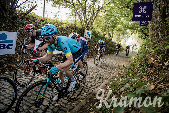 Hugo Houle (CAN/Astana) up the Koppenberg<br /> <br /> 104th Ronde van Vlaanderen 2020 (1.UWT)<br /> 1 day race from Antwerpen to Oudenaarde (BEL/243km) <br /> <br /> ©kramon