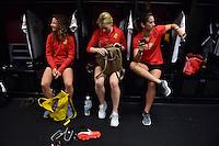Houston, TX - Sunday Oct. 09, 2016: Elizabeth Eddy, Samantha Mewis, Abby Erceg prior to a National Women's Soccer League (NWSL) Championship match between the Washington Spirit and the Western New York Flash at BBVA Compass Stadium.