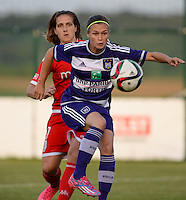 20160520 - TUBIZE , BELGIUM : Anderlecht's Anaelle Wiard (r) pictured with Standard's Maud Coutereels (left) during a soccer match between the women teams of RSC Anderlecht and Standard Femina de Liege , during the sixth and last matchday in the SUPERLEAGUE Playoff 1 , Friday 20 May 2016 . PHOTO SPORTPIX.BE / DAVID CATRY