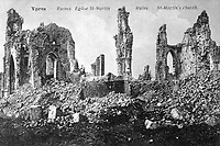 Ruins of St. Martin's Church in Ypres, Belgium, ca. 1918.  (War Dept.)<br /> EXACT DATE SHOT UNKNOWN<br /> NARA FILE #:  165-FC-13-1<br /> WAR & CONFLICT BOOK #:  696