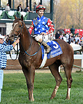 LEXINGTON, KY - APRIL 15: Senior Investment wins the 36th running of the Stonestreet Lexington (Grade III) $200,000 for owners Fern Circle Stables, trainer Kenneth McPeek and jockey Channing Hill.  April 15, 2017
