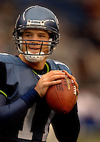Oct. 23, 2005; Seattle, WA, USA; Quarterback (11) David Greene of the Seattle Seahawks against the Dallas Cowboys at Qwest Field. Mandatory Credit: Mark J. Rebilas