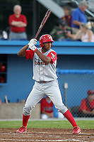 Williamsport Crosscutters outfielder Domingo Santana (24) during a game vs the Batavia Muckdogs at Dwyer Stadium in Batavia, New York July 26, 2010.   Batavia defeated Williamsport 3-2.  Photo By Mike Janes/Four Seam Images