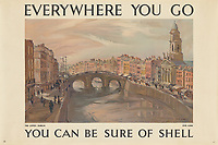 BNPS.co.uk (01202 558833)<br /> Pic: Lyon&Turnbull/BNPS<br /> <br /> Pictured: The picturesque Liffey in Dublin made for a stunning poster <br /> <br /> A vast collection of vintage Shell posters have sold at auction for almost £60,000.<br /> <br /> The group of 49 sheets were sold directly from the oil giant's archives and featured some incredibly rare designs from down the years.<br /> <br /> All of the posters had previously been used in Shell advertising campaigns, dating back to between the 1920s and 1950s.<br /> <br /> Many of the colourful designed featured the slogan 'You can be sure of Shell' and list people who preferred their fuel.