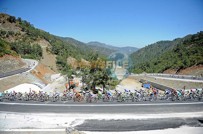The peloton in action during Stage 4 of the 2015 Presidential Tour of Turkey running 132km from Fethiye to Marmaris. 29th April 2015.<br /> Photo: Tour of Turkey/Mario Stiehl/www.newsfile.ie