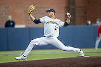 Michigan Wolverines pitcher Steven Hajjar (27) delivers a pitch to the plate against the Ohio State Buckeyes on April 9, 2021 in NCAA baseball action at Ray Fisher Stadium in Ann Arbor, Michigan. Ohio State beat the Wolverines 7-4. (Andrew Woolley/Four Seam Images)