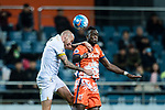 Jeju United Forward Frederic Mendy (R) fights for the ball with Adelaide United Defender Taylor Regan (L) during the AFC Champions League 2017 Group Stage - Group H match between Jeju United FC (KOR) vs Adelaide United (AUS) at the Jeju World Cup Stadium on 11 April 2017 in Jeju, South Korea. Photo by Marcio Rodrigo Machado / Power Sport Images