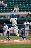 St. Lucie Mets Hansel Moreno (9) hits a single during a Florida State League game against the Lakeland Flying Tigers on April 24, 2019 at Publix Field at Joker Marchant Stadium in Lakeland, Florida.  Lakeland defeated St. Lucie 10-4.  (Mike Janes/Four Seam Images)