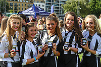 London, UK on Sunday 31st August, 2014. Members of the Sweetchix team showing their medals during the Soccer Six charity celebrity football tournament at Mile End Stadium, London.
