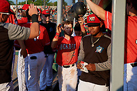 Batavia Muckdogs J.D. Orr (22) high fives teammates in the dugout during a NY-Penn League game against the State College Spikes on July 3, 2019 at Dwyer Stadium in Batavia, New York.  State College defeated Batavia 6-4.  (Mike Janes/Four Seam Images)