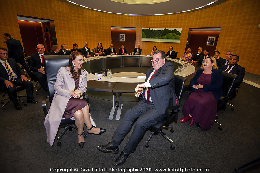 Prime Minister Jacinda Ardern and Deputy Prime Minister Grant Robertson.. The New Zealand government holds its first cabinet meeting at Parliament in Wellington, New Zealand on Friday, November 6, 2020. Photo: Dave Lintott / lintottphoto.co.nz