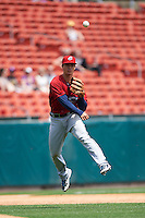 Columbus Clippers third baseman Zach Walters (27) throws to first during a game against the Buffalo Bisons on July 19, 2015 at Coca-Cola Field in Buffalo, New York.  Buffalo defeated Columbus 4-3 in twelve innings.  (Mike Janes/Four Seam Images)