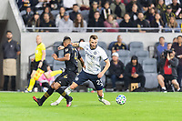 LOS ANGELES, CA - MARCH 08: Eddie Segura #4 of LAFC and Kacper Przybylko #23 of Philadelphia Union during a game between Philadelphia Union and Los Angeles FC at Banc of California Stadium on March 08, 2020 in Los Angeles, California.
