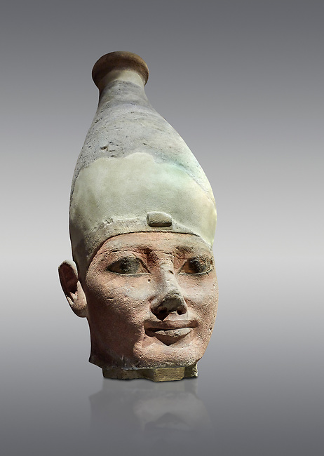 Ancient Egyptian head of a Thutmosid Thutmose king, New Kingdom, 18th Dynasty (1550-1292 BC), Thebes. Egyptian Museum, Turin. Grey background.<br /> <br /> The Eighteenth Dynasty of Egypt  is classified as the first dynasty of the New Kingdom of Egypt, the era in which ancient Egypt achieved the peak of its power. This dynasty is also known as the Thutmosid Dynasty for the four pharaohs named Thutmose. Founded by Ahmose I who was suceeded by Thutmose I, Thutmose II, Thutmose III