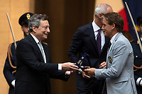 The Italian Premier Mario Draghi and Italy trainer Roberto Mancini during the official visit of the football Italy National team, after winning the UEFA Euro 2020 Championship.<br /> Rome (Italy), July 12th 2021<br /> Photo Pool Augusto Casasoli Insidefoto