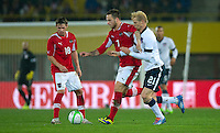 VIENNA, Austria - November 19, 2013: Brek Shea and Austria's Marko Arnautovic during a 0-1 loss to host Austria during the international friendly match between Austria and the USA at Ernst-Happel-Stadium.