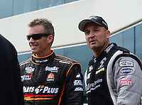 Apr. 15, 2012; Concord, NC, USA: NHRA top fuel dragster driver Bob Vandergriff Jr (right) talks with Clay Millican during eliminations for the Four Wide Nationals at zMax Dragway. Mandatory Credit: Mark J. Rebilas-