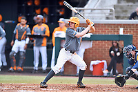Tennessee Volunteers third baseman Wyatt Stapp (12) awaits a pitch during a game against the University of North Carolina Greensboro (UNCG) Spartans at Lindsey Nelson Stadium on February 24, 2018 in Knoxville, Tennessee. The Volunteers defeated Spartans 11-4. (Tony Farlow/Four Seam Images)