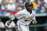 Vanderbilt Commodores designated hitter Ro Coleman (1) runs to first base during the NCAA College baseball World Series against the Cal State Fullerton Titans on June 15, 2015 at TD Ameritrade Park in Omaha, Nebraska. Vanderbilt beat Cal State Fullerton 4-3. (Andrew Woolley/Four Seam Images)