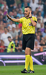 Referee Santiago Jaime Latre gestures during the La Liga 2018-19 match between Real Madrid and CD Leganes at Estadio Santiago Bernabeu on September 01 2018 in Madrid, Spain. Photo by Diego Souto / Power Sport Images