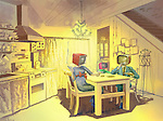 TV family at dining table