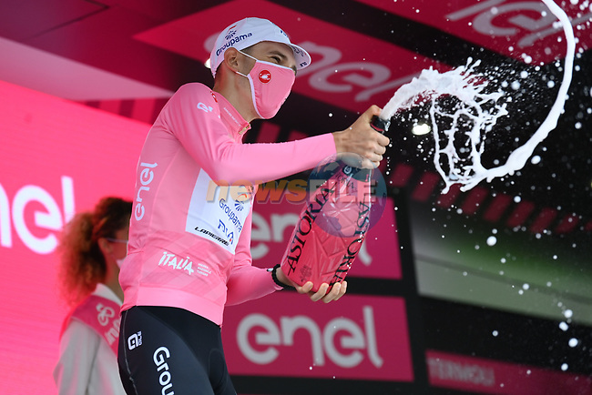 Attila Valter (HUN) Groupama-FDJ retains the race leaders Maglia Rosa at the end of Stage 7 of the 2021 Giro d'Italia, running 181km from Notaresco to Termoli, Italy. 14th May 2021.  <br /> Picture: LaPresse/Massimo Paolone   Cyclefile<br /> <br /> All photos usage must carry mandatory copyright credit (© Cyclefile   LaPresse/Massimo Paolone)