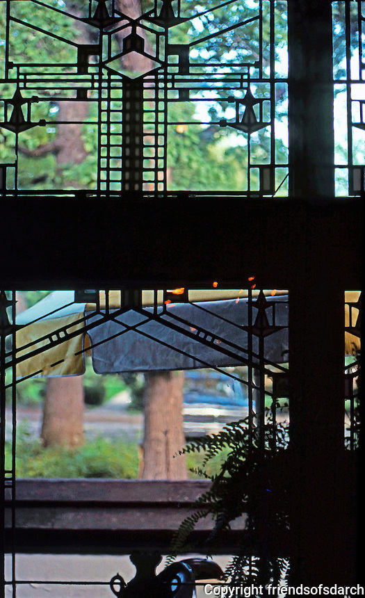 F.L. Wright: Harley Bradley House, Kankakee, Ill. Interior window.