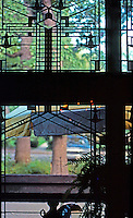 F.L. Wright: Harley Bradley House, Kankakee, Ill. Interior window.